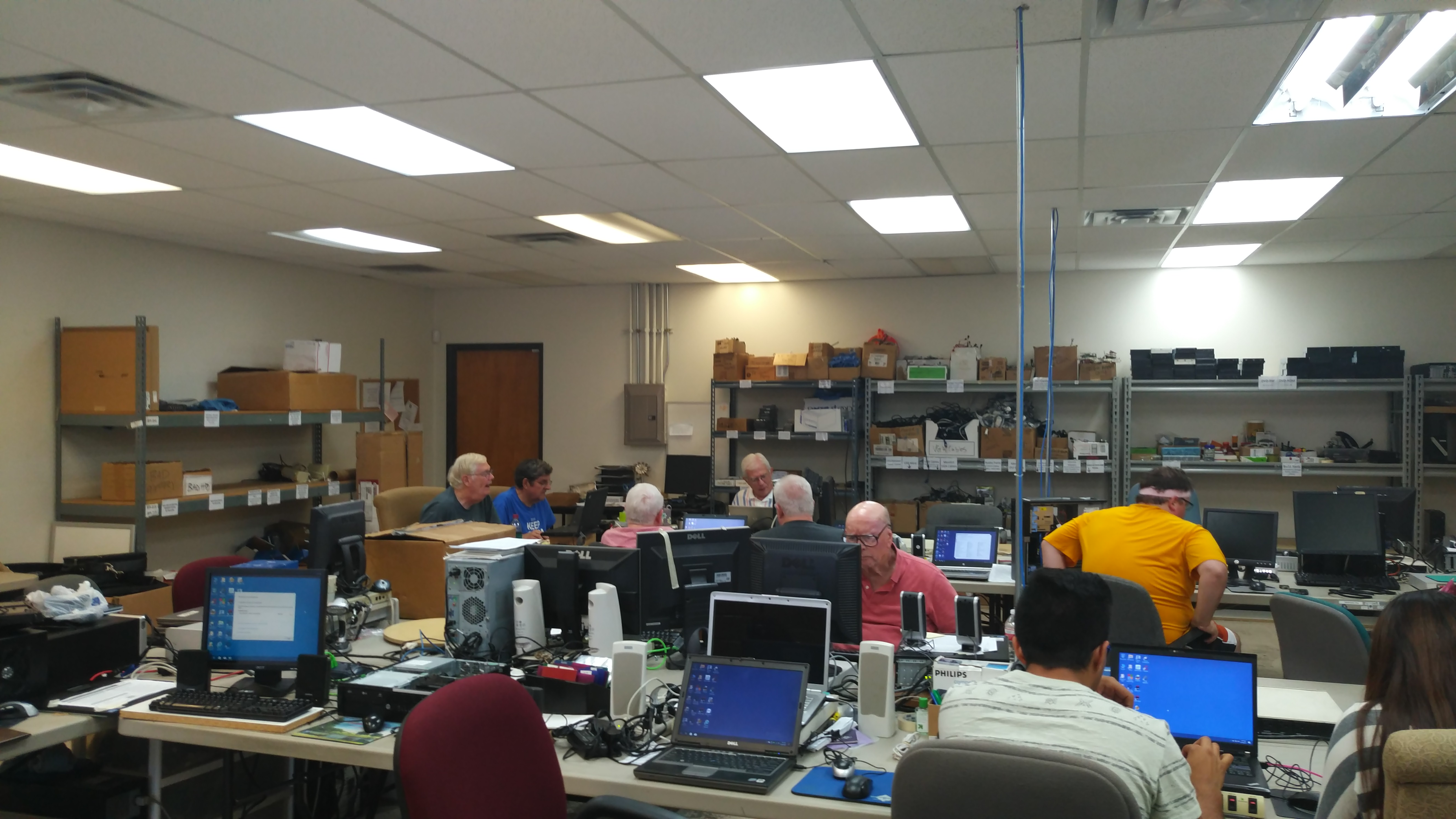 A normal day at the Center. We work hard to get computers out for our Clients, in great working condition. Normally we push 150+ each month!