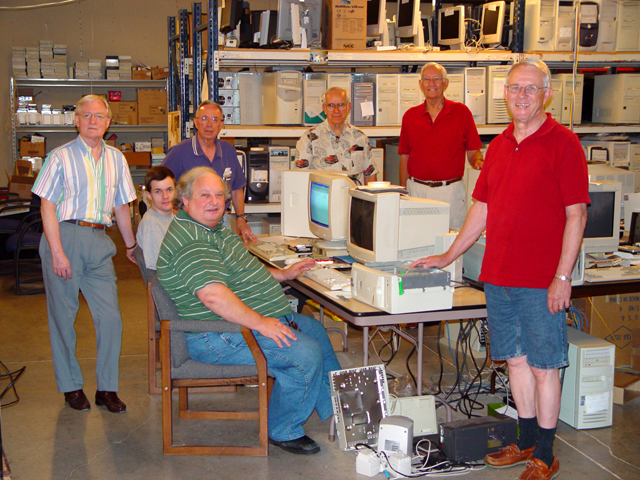 Our group of volunteers at our Refurbishing Location at King of Glory Lutheran Church. These guys worked hard to get thousands of computers shipped.